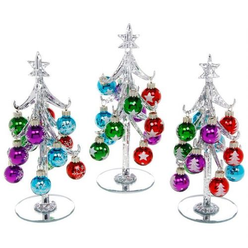 Medium Silver Glass Christmas Trees with Bright Multi Coloured Baubles
